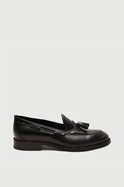 Male Industry Siyah Deri Kösele Püsküllü Loafer