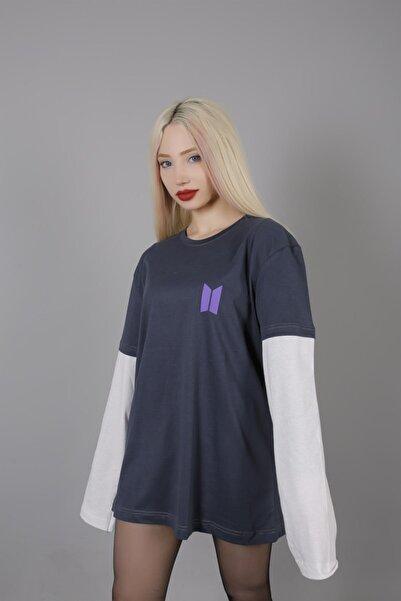Mooncorn Kadın Antrasit Uzun Kollu Bts Sırt Baskılı T-shirt