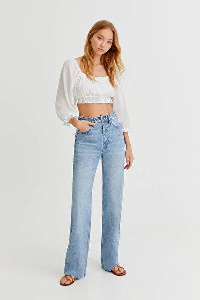 Pull & Bear Dikişsiz Paça Straight Fit Jean