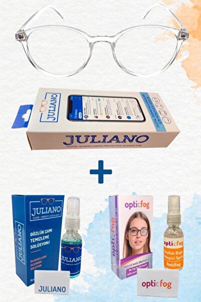 JULIANO Şeffaf Ekran Gözlüğü ve Opticfog ve Bakım Solüsyonu