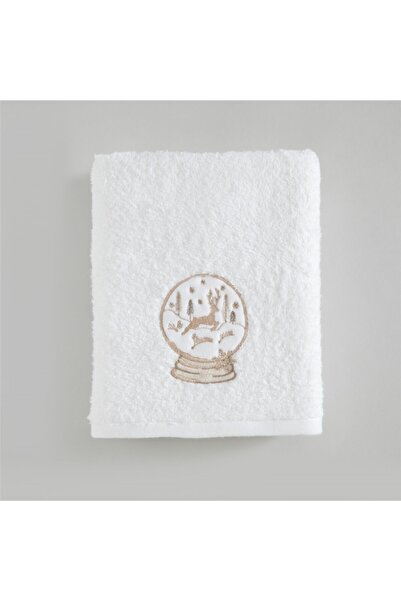 Chakra Dream Nakışlı Yüz Havlusu 50x90 Cm Beyaz