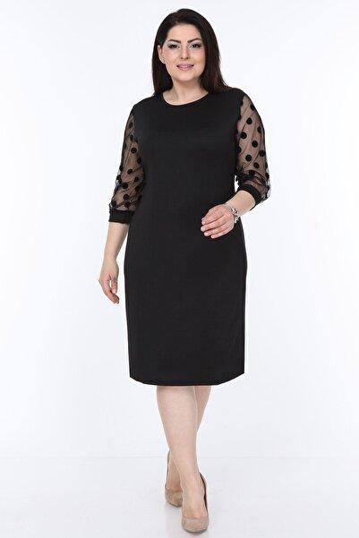 Moday Kadın Siyah Puanlı Flok Kol Elbise 12e-08951