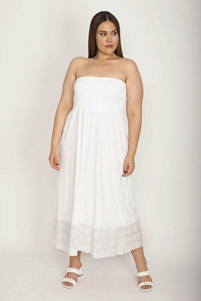Şans Kadın Kemik Göğüs Kısmı Geniş Gipe Lastikli Etek Ucu Dantel Detaylı Straplez Elbise 65N26586