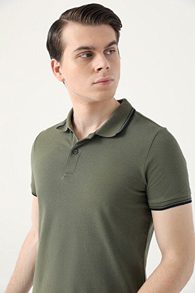 D'S Damat Slim Fit Haki Pike Dokulu T-shirt