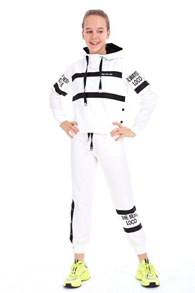 Enisena Kız Çocuk Beyaz Kapşonlu Sweatshirt Takım 1703