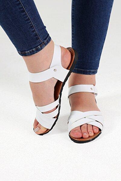 Beyond Beyaz Deri Sandalet