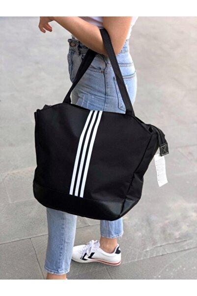 Moda Bu Siyah Büyük Boy Siyah Beyaz Çizgili Kadın Spor Çanta
