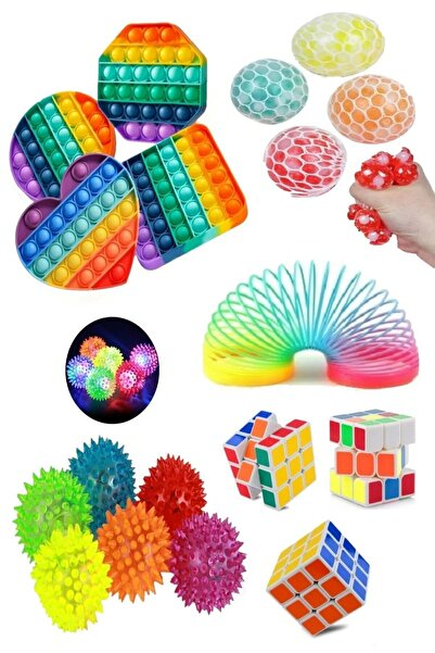 Ayver Stres Giderici Set 1 Popit 1 Rubik Zeka Küpü 1 Beyin Stres Topu 1 Stres Yayı 1 Işıklı Stres Topu