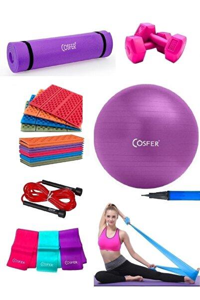Cosfer 7 Parça Pilates ve Yoga Seti Mor Hediyeli Oturma Matı Özel Taşınabilir Kılıflı