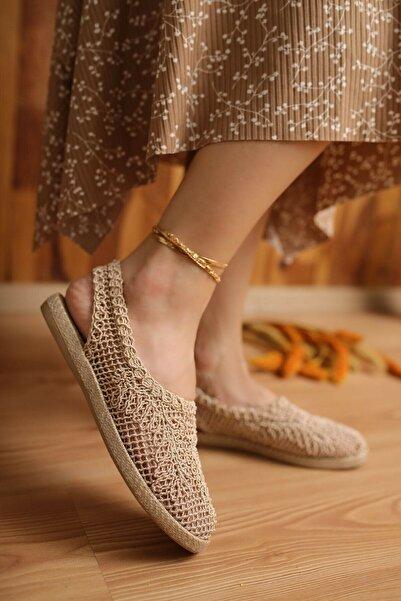 modapapuc Kadın Bej Günlük Dantel Örgü Sandalet