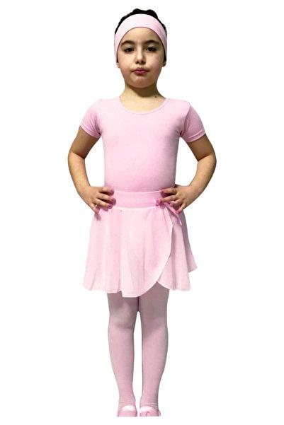 Yıldız Bale Kostüm ve Spor Ürünleri Pembe Kısa Kollu Sırtı Çapraz Mayo & Pembe Şifon Etek