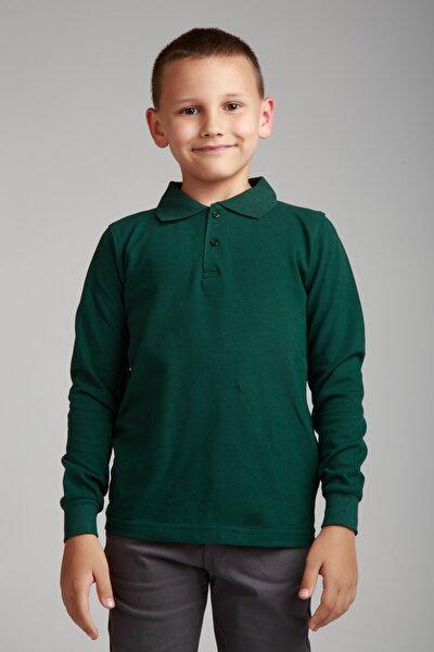 Dragora Uzun Kollu Polo Yaka Koyu Yeşil Penye