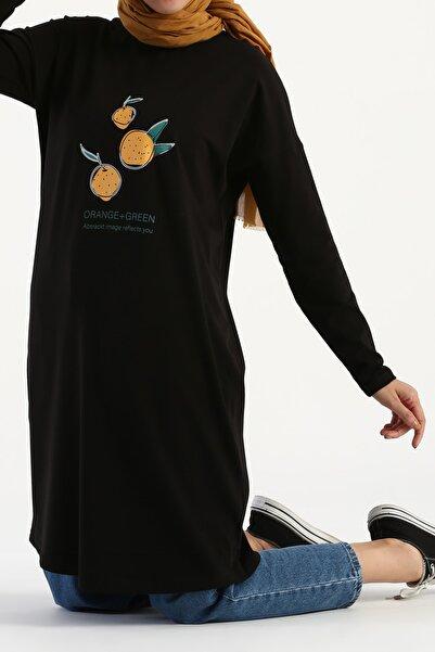 ALLDAY Siyah Orange Green Baskılı Uzun Kollu T-shirt Tunik