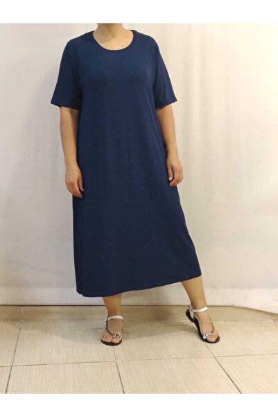 Mertcan Butik Kısa Kollu Penye Lacivert Elbise