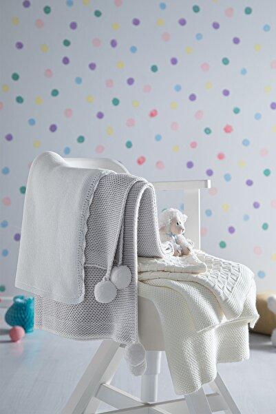 Yataş Bedding Pera Bebek Battaniyesi %100 Pamuk Bebek Battaniyesi Örgü Desenli Ekru 70x100 Cm