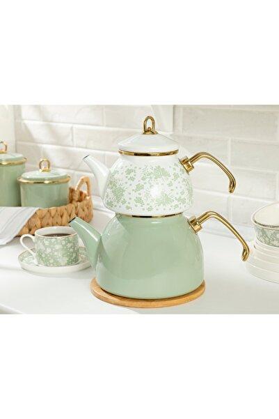 English Home Dande Emaye Çaydanlık 1,1 Litre + 2,3 Litre Beyaz - Yeşil
