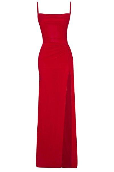 Whenever Company Kırmızı Derin Yırtmaçlı Drapeli Uzun Abiye Elbise