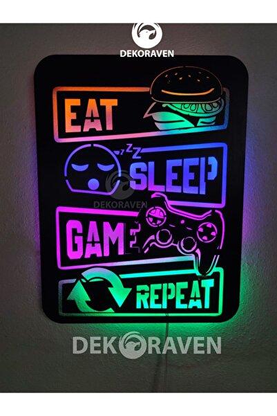 dekoraven Gamer Led Işıklı Ahşap Tablo -eat Sleep Game Repeat 55x40