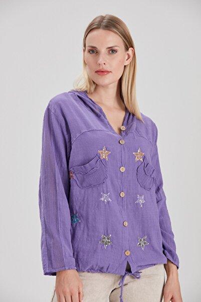 Y-London Kadın Mor Yıldız Pul İşlemeli Tahta Düğmeli Ceket YL-CE99923