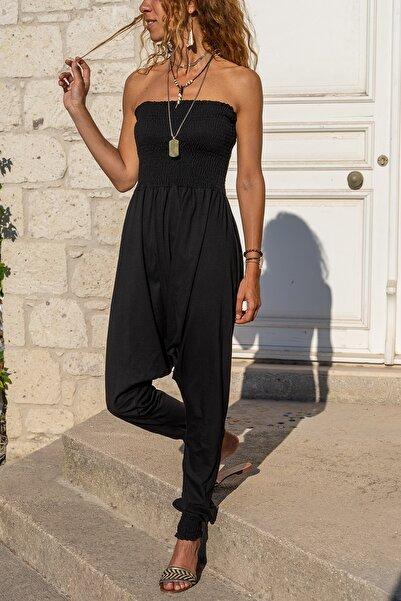 Güneşkızı Kadın Siyah Gipeli Straplez Şalvar Tulum GK-CCK55056