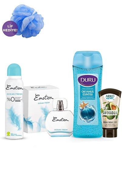 Emotion Kadın Parfüm + Deodorant + Duru Duş Jeli + Arko Nem Krem + Duş Lifi