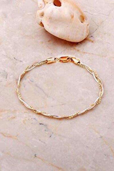 Italyan Örgü Altın Yaldızlı Rose Gümüş Bileklik 3706