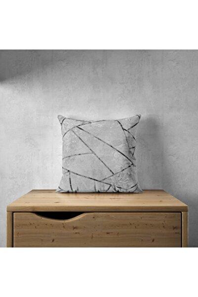 Viens Gri Mermer Desen Dijital Baskılı Çift Taraflı 45x45 Dekoratif Kırlent Kılıfı