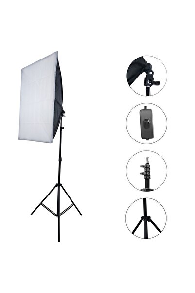 Tudex Fotoğraf Ve Video Çekim Odası Aydınlatma 50*70 Cm Softbox Işık Tek Duylu