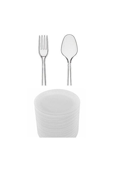 PLASTİKAP Plastik Çatal, Plastik Kaşık, Köpük Tabak 50li