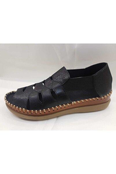 Venüs Kadın Siyah Taba Ayakkabı