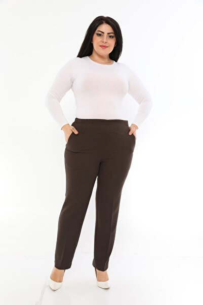 EVS WOMAN Kadın Kahverengi Büyük Beden Beli Lastikli Pantolon