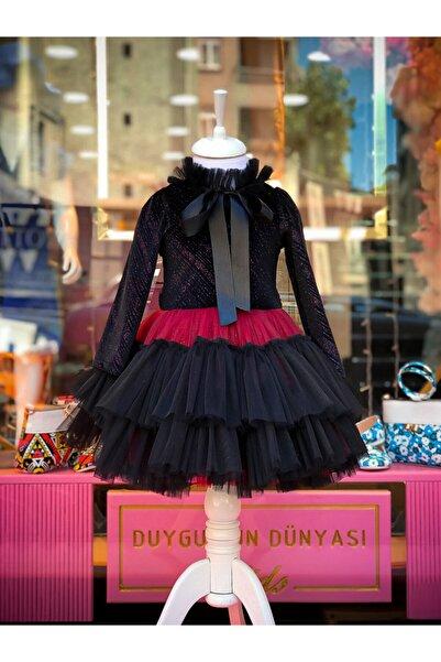 Duygunun Dünyası Kız Çocuk Simli Kadife Abiye-elbise