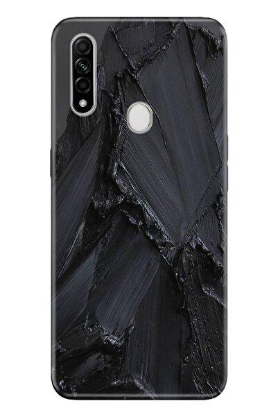 Oppo A31 Pure Modern Desenli Silikon  Uyumlu  Kılıf Siyah Beton