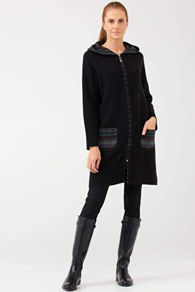 Sementa Kapüşonlu Fermuarlı Uzun Triko Ceket - Siyah
