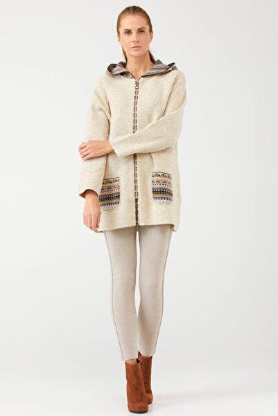 Sementa Kadın Kapüşonlu Fermuarlı Triko Ceket - Açık Bej