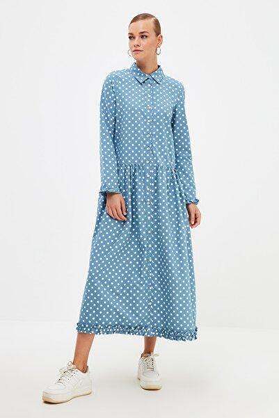 Trendyol Modest Mavi Gömlek Yaka Tesettür Elbise TCTSS21EL4153
