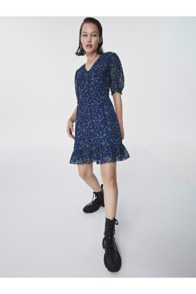 Twist Çiçek Desen Fırfır Şeritli Elbise