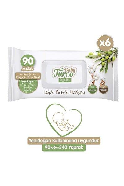 Baby Turco Doğadan Islak Bebek Havlusu 6x90 Yaprak