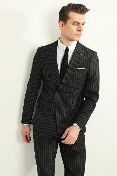 Fc Plus Siyah Mafya Çizgili Kruvaze Erkek Takım Elbise - Slım Fıt