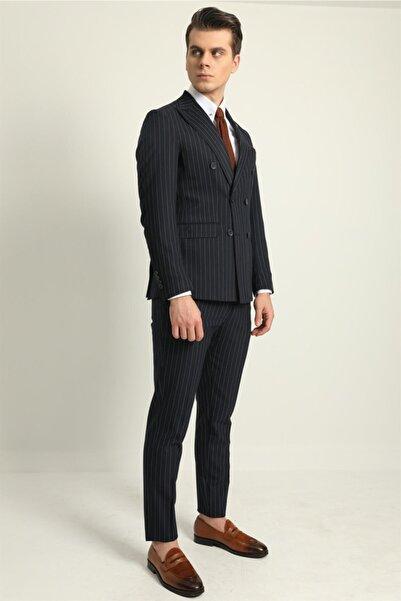Fc Plus Lacivert Mafya Çizgili Kruvaze Erkek Takım Elbise - Slım Fıt
