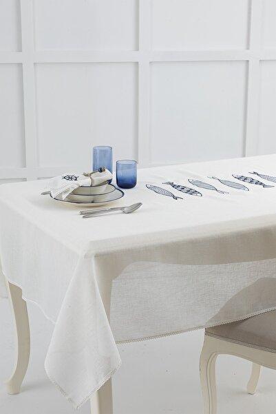 English Home Marin Nakışlı Linen Masa Örtüsü 150x200 Cm Lacivert