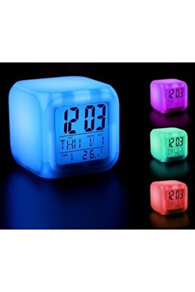 İstocToptan 7 Renk Değiştiren Çocuk Odası Alarmlı Dijital Küp Çalar Saat