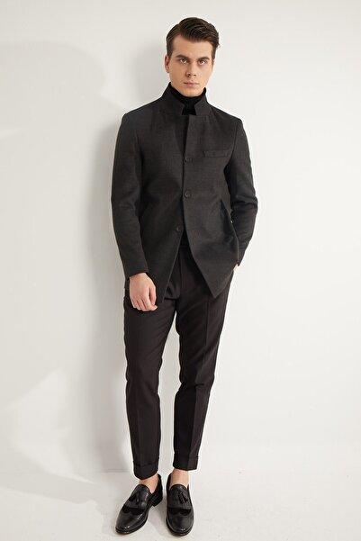 Fc Plus Siyah Dik Mono Yaka Erkek Kaban - Slim Fit