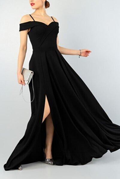 tknfashion Siyah Kruvaze Yaka Pileli Abiye Elbise Uzun Elbise Düğün Elbisesi 078