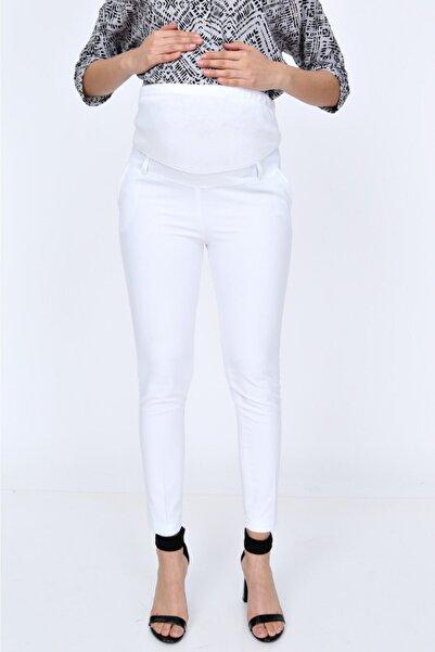 HaiModa Hamile Dar Paça Beyaz Kumaş Pantolon