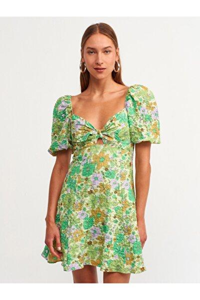 Dilvin 9116 Desenli Elbise Mint