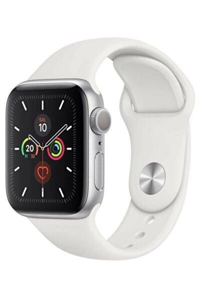 Apple Watch 1 2 3 4 5 6 Se 44 Mm Silikon Ayarlanabilir Kordon Beyaz + Popsocket