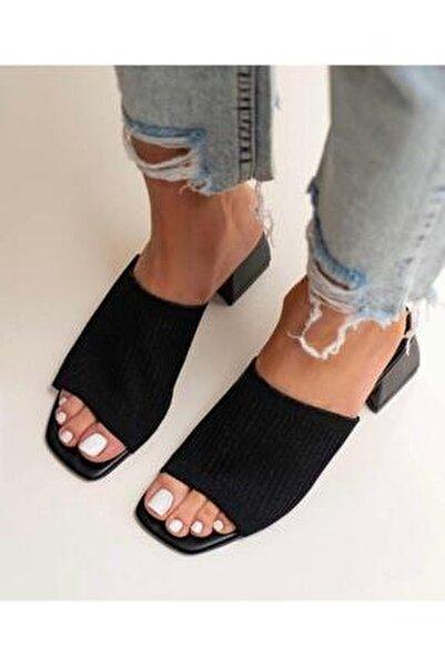 Kadın Siyah Topuklu Triko Terlik