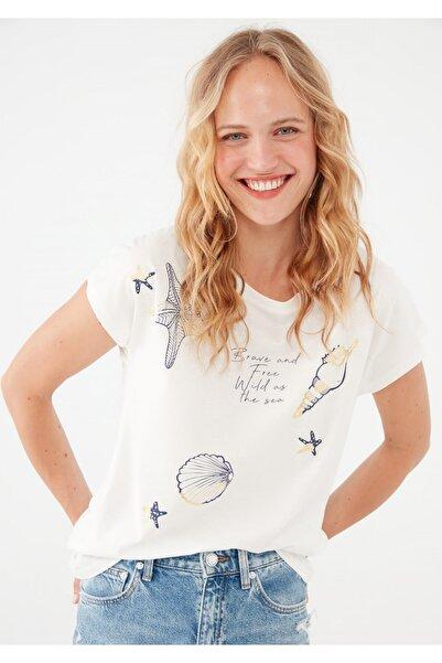 Mavi Deniz Yıldızı Baskılı Beyaz Tişört 1601181-620