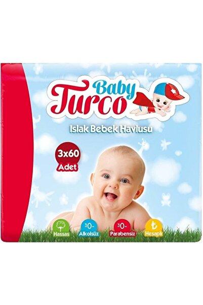 Baby Turco Klasik Plastik Kapaklı 3'lü Set 180 Yaprak Islak Havlu Mendil